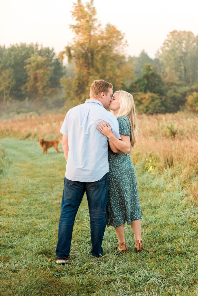Engagement session in a field, rochester ny engagement session, mendon ponds park engagement photos, sunrise engagement session, sunrise photos, sunrise photos in a field, field engagement session, engagement session at sunrise, cute engagement session poses, engagement session outfit ideas, simple outfit ideas, outfits for fall engagement session