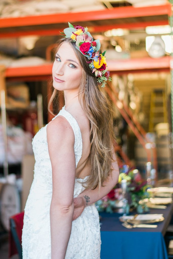 flower crown wedding inspiration, wedding flower crown, DIY flower crown, DIY wedding flowers, bold wedding florals, indi wedding florals, boho wedding inspo, boho wedding ideas, half up half down bridal hair, half up half down wedding hair, lace wedding dress, film wedding photos, wedding makeup ideas, wedding makeup inspiration, tight wedding dress, lace wedding dress, colorado themed wedding