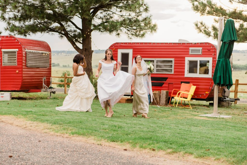 renovated campers, farmhouse wedding, rustic barn wedding, mountainside wedding photography, kiowa colorado wedding photography, once upon a wedding venue, colorado boho wedding photography, colorado boho wedding, allison ranslow photography, adventure wedding photography, colorado adventure wedding photography, colorado adventure elopement photography, boho bridal details, classic wedding gown, simple wedding florals, simple wedding dress, bridal veil, cathedral length bridal veil, cathedral veil, tatted bride