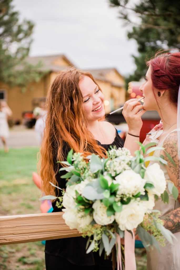 kiowa makeup artist, colorado wedding makeup artist, farmhouse wedding, rustic barn wedding, mountainside wedding photography, kiowa colorado wedding photography, once upon a wedding venue, colorado boho wedding photography, colorado boho wedding, allison ranslow photography, adventure wedding photography, colorado adventure wedding photography, colorado adventure elopement photography, boho bridal details, classic wedding gown, simple wedding florals, simple wedding dress, bridal veil, cathedral length bridal veil, cathedral veil, tatted bride